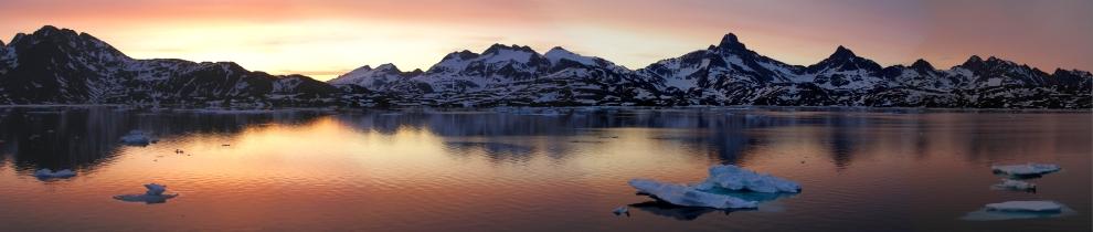 Sunset overlooking Kong-Oscars-Havn Fjord in mid June
